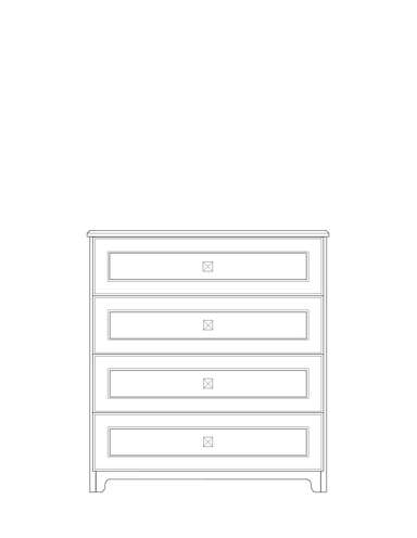 Dimensional line drawing for the Scottsdale 4-Drawer Chest