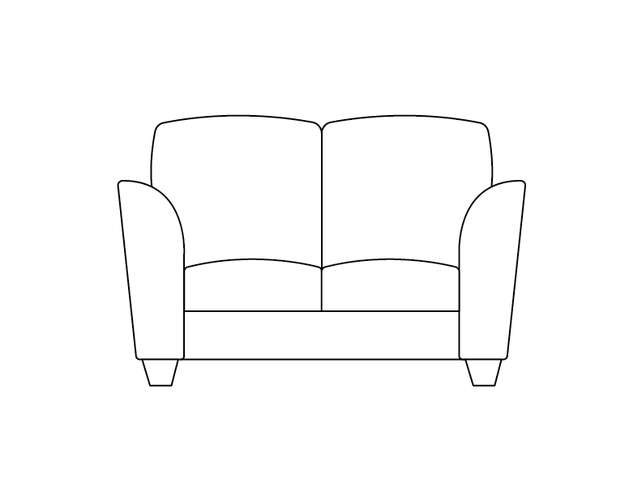 dimensional line drawing for the oak park loveseat