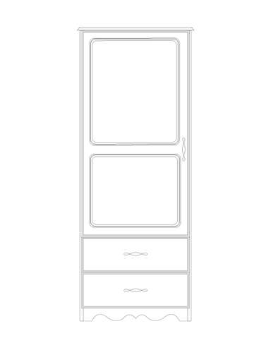 Dimensional line drawing for the Williamsburg 1-Door, 2-Drawer Wardrobe