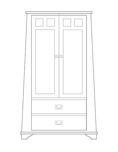 Dimensional line drawing for the Oak Park 2-Door, 2-Drawer Wardrobe