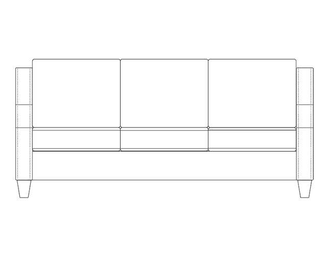 Dimensional line drawing for the Stratford Sofa