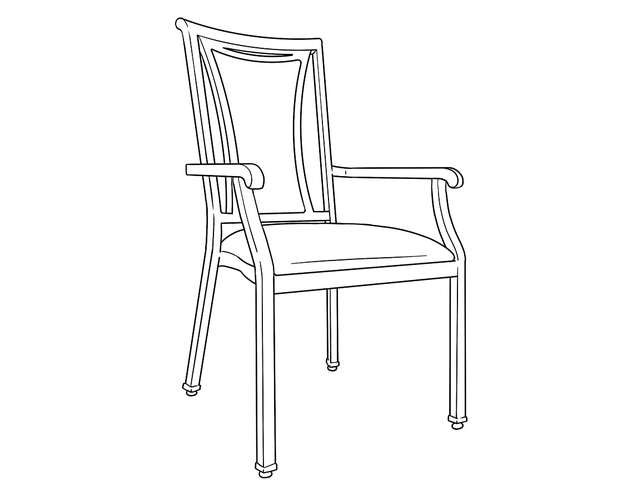 Dimensional line drawing for the Alcova Dining Chair