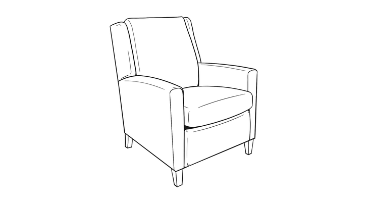 Dimensional line drawing for the Arlington Heights Recliner