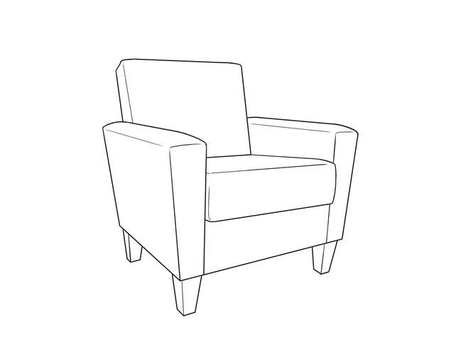 Dimensional line drawing for the Quick-Ship Arlington Heights Lounge Chair in Crypton Fabric