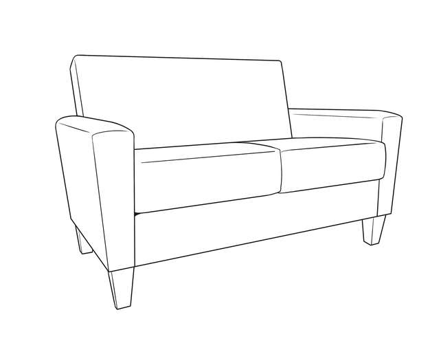 Dimensional line drawing for the Arlington Heights Loveseat