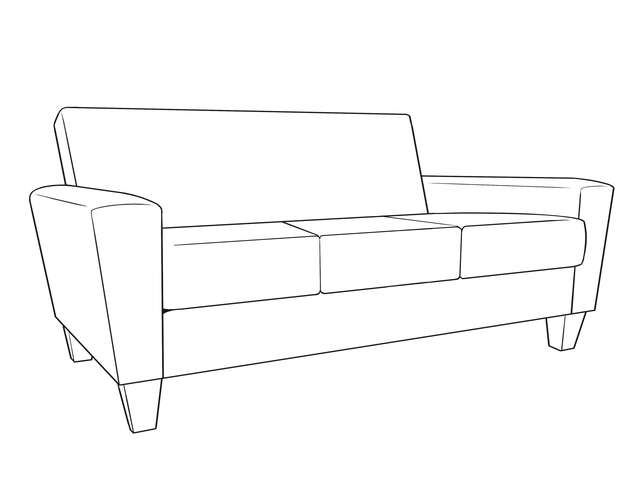 Dimensional line drawing for the Quick-Ship Arlington Heights Sofa in Crypton Fabric