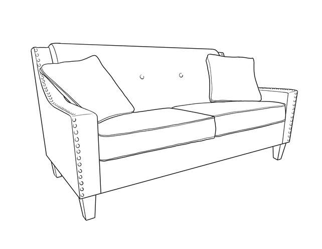 Dimensional line drawing for the Quick-Ship Atwood Apartment-Sized Sofa in Crypton Fabric