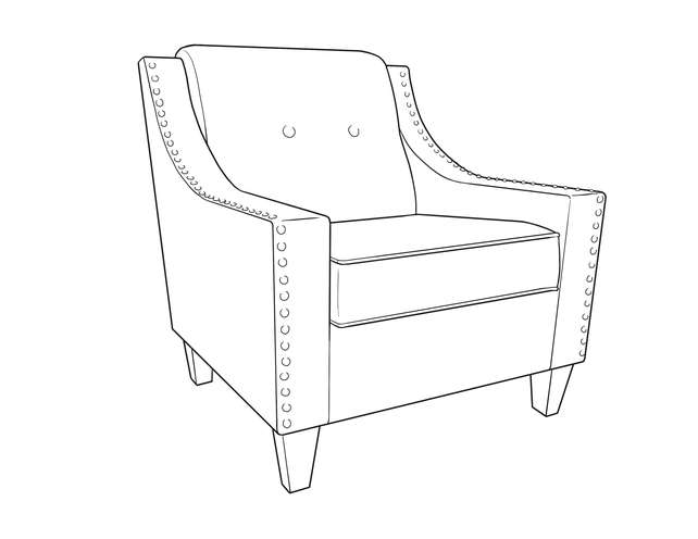 Dimensional line drawing for the Quick-Ship Atwood Lounge Chair in Crypton Fabric
