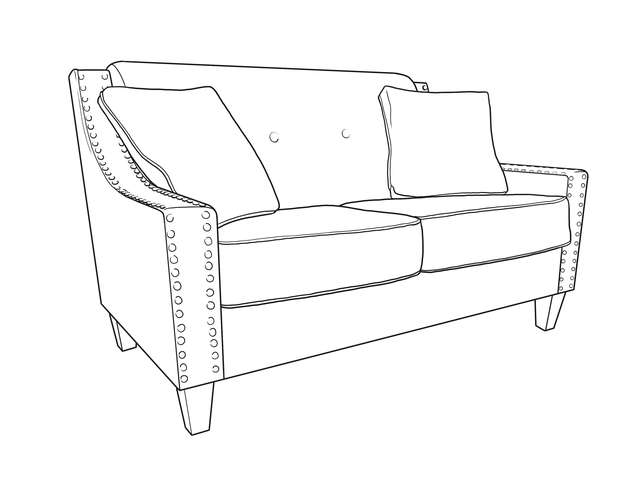 Dimensional line drawing for the Quick-Ship Atwood Loveseat in Crypton Fabric