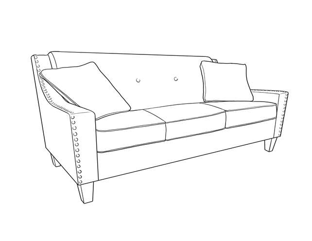 Dimensional line drawing for the Quick-Ship Atwood Sofa in Crypton Fabric