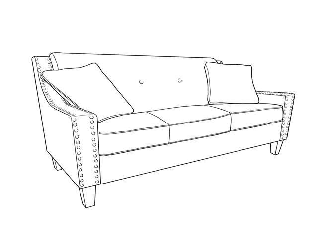 Dimensional Line Drawing For The Atwood Sofa
