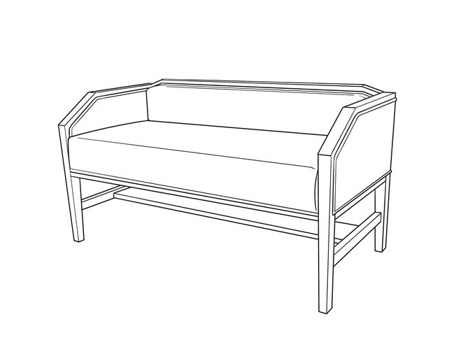 Dimensional line drawing for the Auburndale Bench