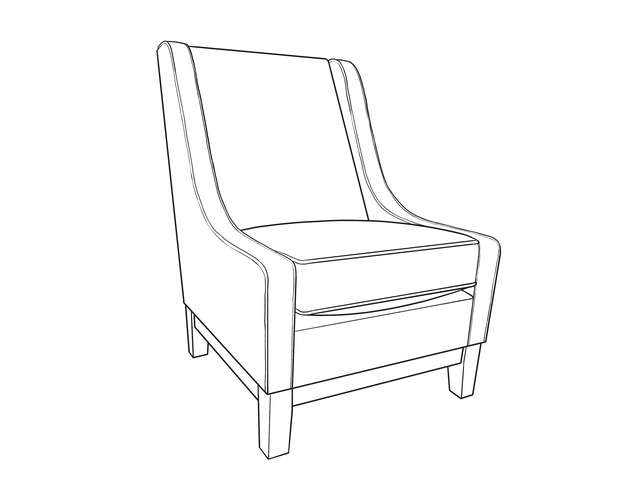 Dimensional line drawing for the Bakersfield High-Back Chair