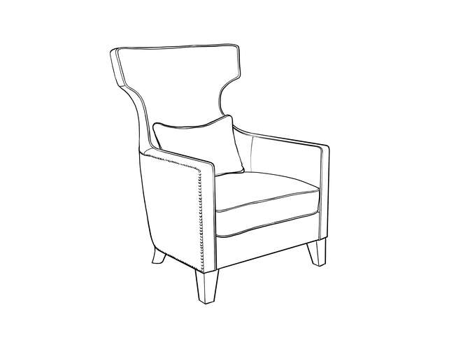 Dimensional line drawing for the Batavia Lounge Chair