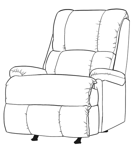 Dimensional line drawing for the Quick-Ship Baxley Recliner in Crypton Fabric