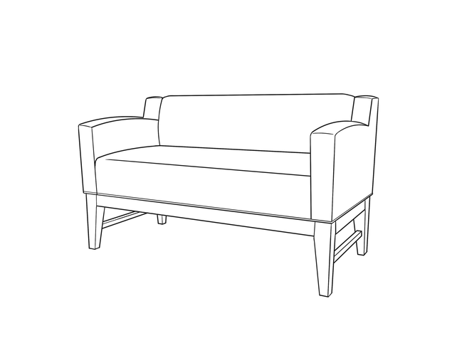 Dimensional line drawing for the Bremerton Bench