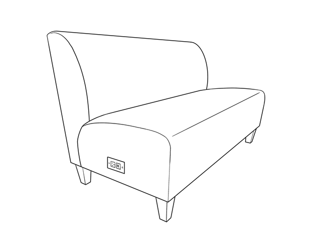 Dimensional line drawing for the Brevard Three-Seat Banquette
