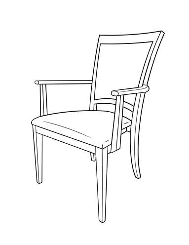 Dimensional line drawing for the Bronson Dining Chair