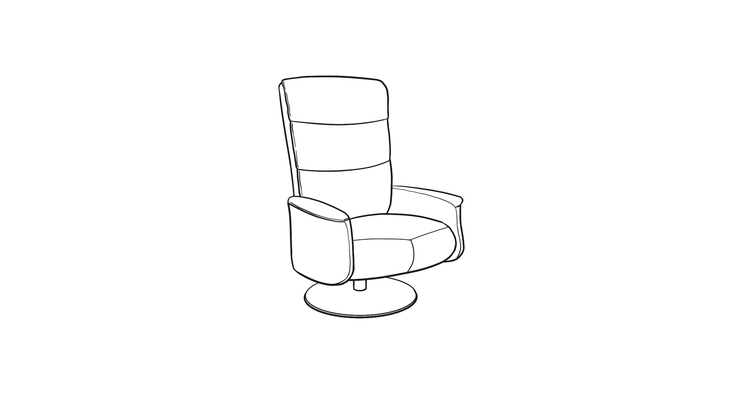 Dimensional line drawing for the Quick-Ship Brugge Recliner