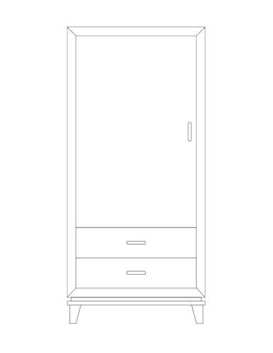 Dimensional line drawing for the Geneva 1-Door, 2-Drawer Wardrobe