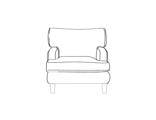 Dimensional line drawing for the Quick-Ship Macon Lounge Chair in Crypton Fabric