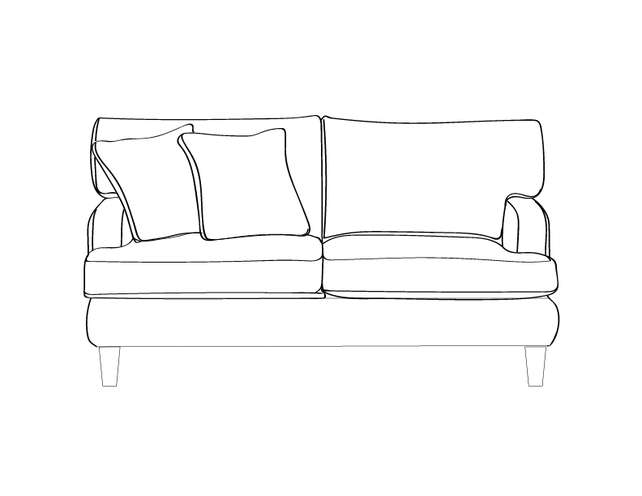 Dimensional line drawing for the Macon Loveseat