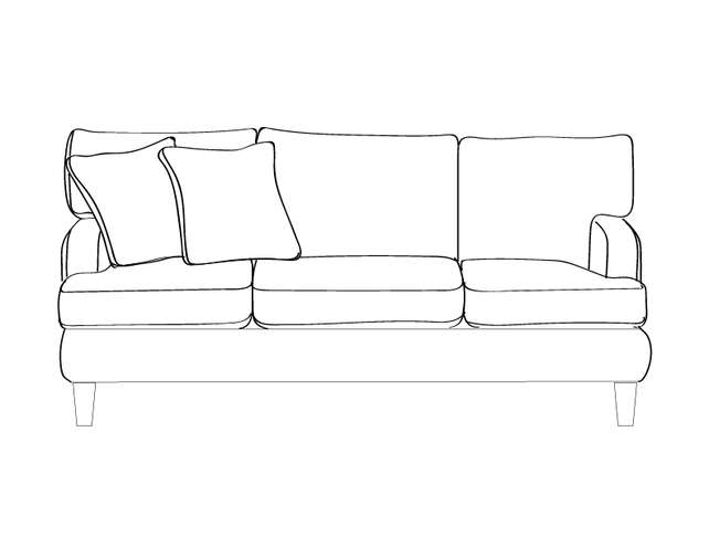 Dimensional line drawing for the Quick-Ship Macon Apartment-Sized Sofa in Crypton Fabric