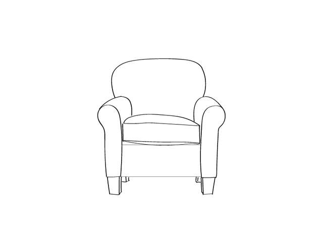 Dimensional line drawing for the Quick-Ship Gainesville Lounge Chair in Crypton Fabric