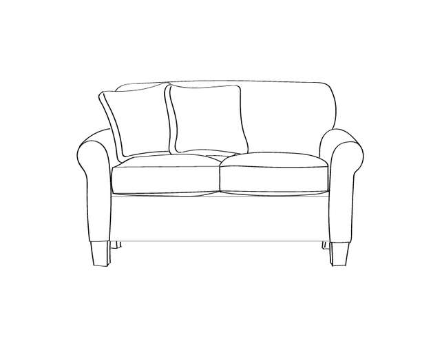 Dimensional line drawing for the Quick-Ship Gainesville Loveseat in Crypton Fabric