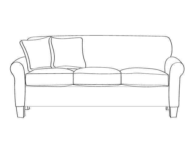 Dimensional line drawing for the Quick-Ship Gainesville Sofa in Crypton Fabric
