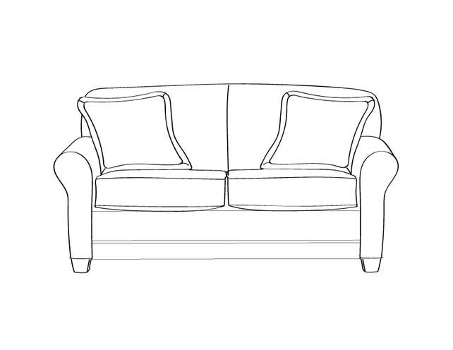Dimensional line drawing for the Quick-Ship Elkhart Loveseat in Crypton Fabric
