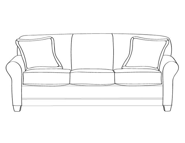 Dimensional line drawing for the Elkhart Sofa