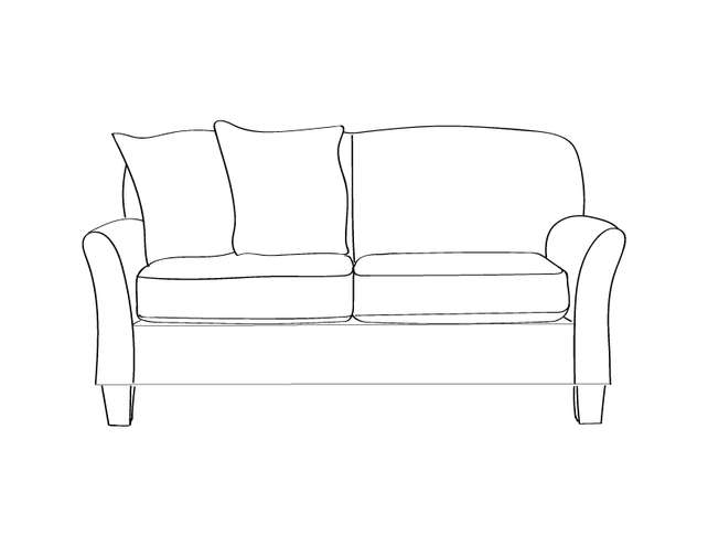 Dimensional line drawing for the Lubbock Loveseat