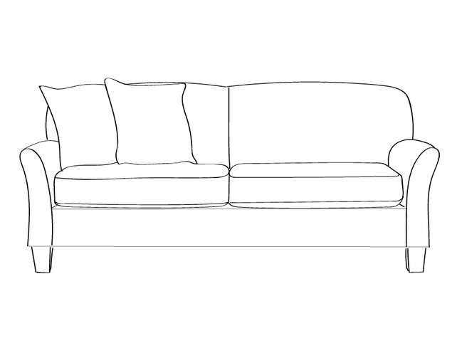 Dimensional line drawing for the Quick-Ship Lubbock Apartment-Sized Sofa in Crypton Fabric