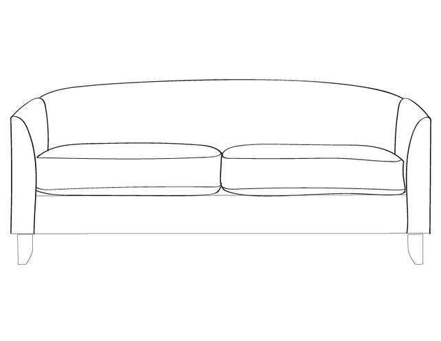 Dimensional line drawing for the Quick-Ship Huntsville Sofa in Crypton Fabric