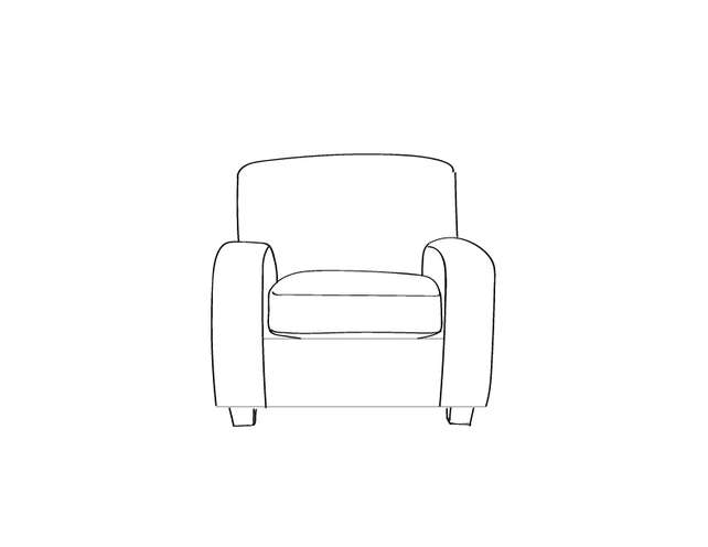 Dimensional line drawing for the Quick-Ship Galveston Lounge Chair in Crypton Fabric