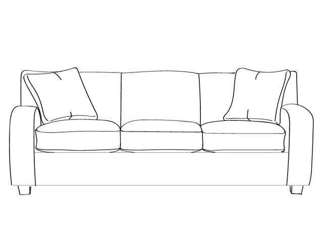 Dimensional line drawing for the Galveston Sofa