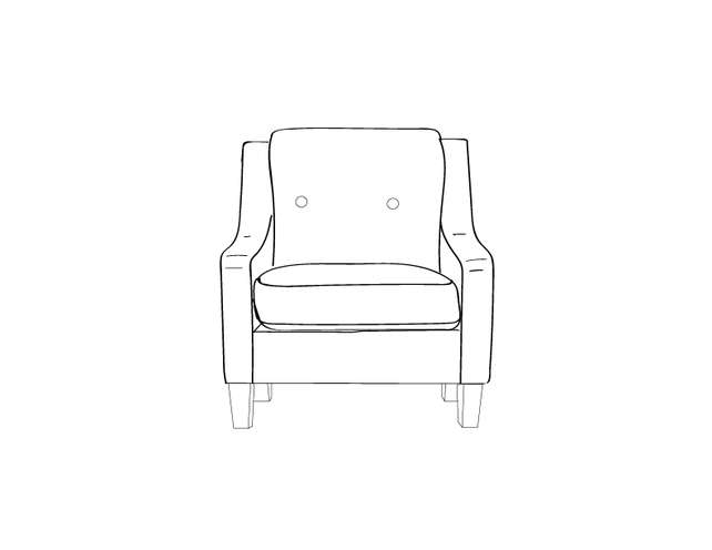 Dimensional line drawing for the Quick-Ship Vidalia Lounge Chair with Removable Seat Decking in Crypton Fabric