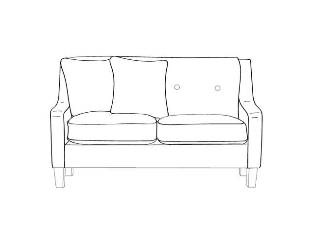 dimensional line drawing for the quickship vidalia loveseat with removable seat decking in crypton