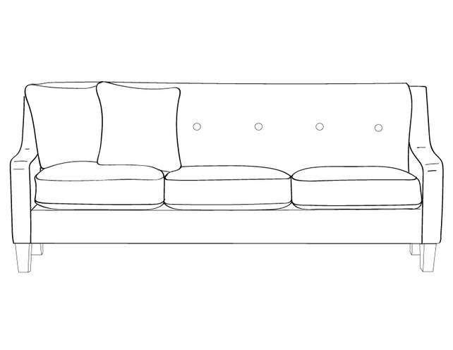 Dimensional line drawing for the Quick-Ship Vidalia Sofa with Removable Seat Decking in Crypton Fabric