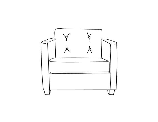 Dimensional line drawing for the Quick-Ship Knoxville Lounge Chair in Crypton Fabric