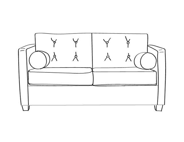 Dimensional line drawing for the Knoxville Loveseat