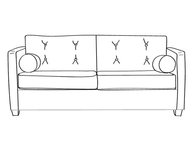Dimensional line drawing for the Quick-Ship Knoxville Apartment-Sized Sofa in Crypton Fabric