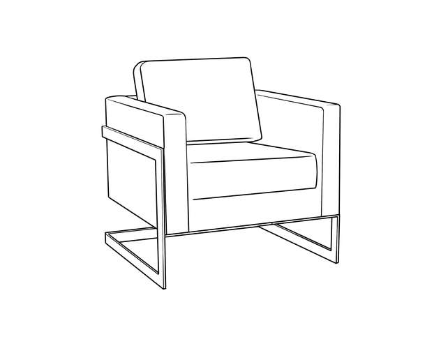 Dimensional line drawing for the Castine Lounge Chair
