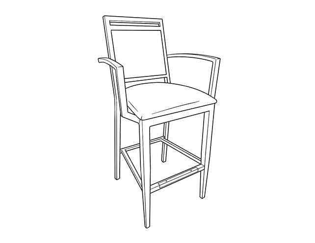 Dimensional line drawing for the Denio Barstool