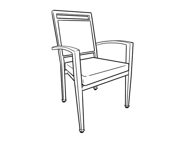 Dimensional line drawing for the Denio Dining Chair with Casters