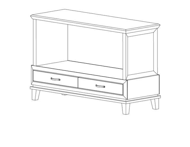 Dimensional line drawing for the Geneva Sofa Table
