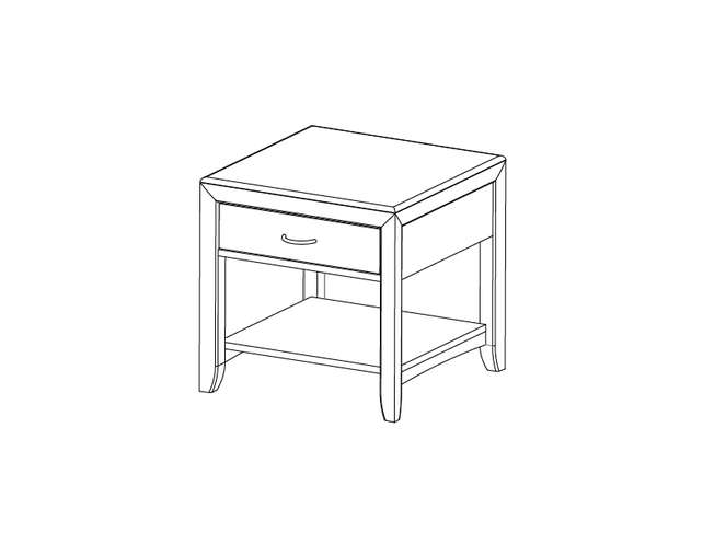 Dimensional line drawing for the Quick-Ship Montreal Square End Table