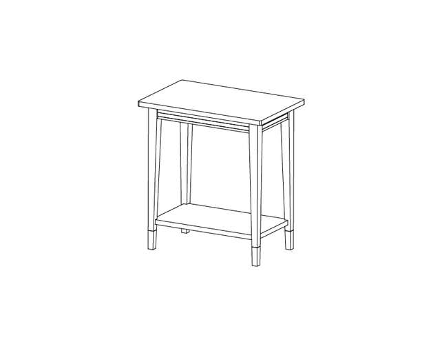 Dimensional line drawing for the Ravenna Chairside Table with Laminate Top
