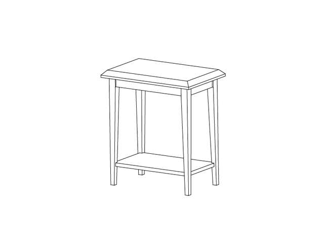 Dimensional line drawing for the Odessa Chairside Table with Laminate Top